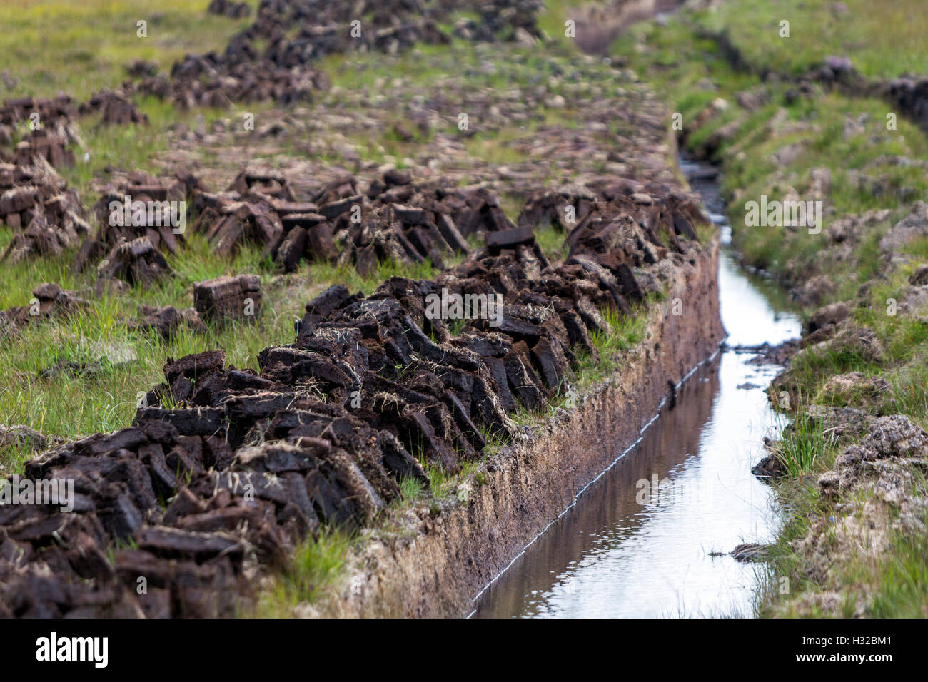 Turf banks, in Donegal County, Ireland - Stock Image