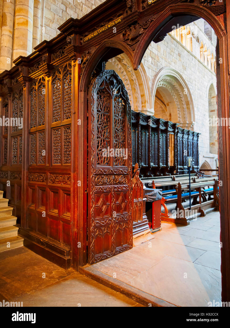Rood screen in Cartmel Priory, near Grange Over Sands, Cumbria Stock Photo
