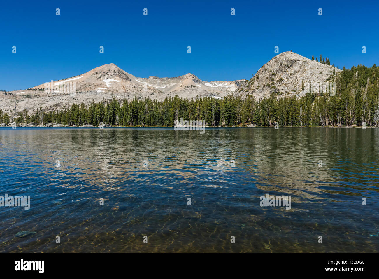 Lake of the Woods with Pyramid Peak and the Crystal Range in the Desolation Wilderness, Eldorado National Forest, - Stock Image