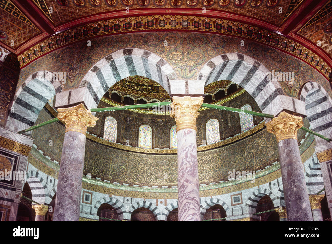 circular arcade supporting the inner dome, The Dome of the Rock, Jerusalem Stock Photo
