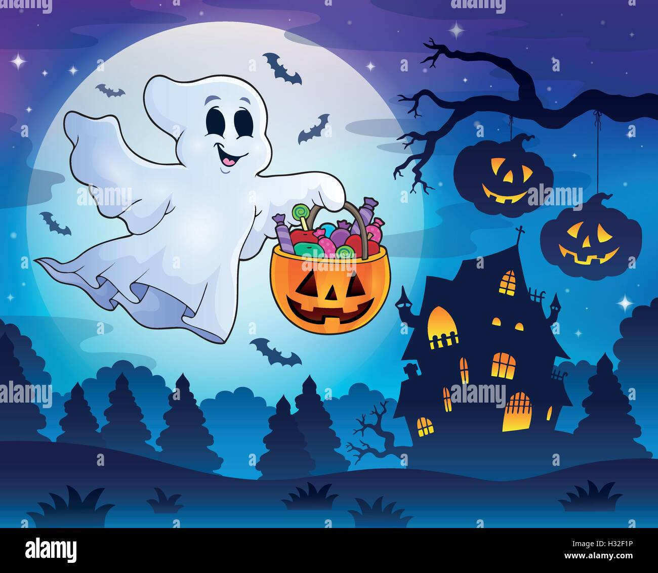 Halloween ghost near haunted house 3 - eps10 vector