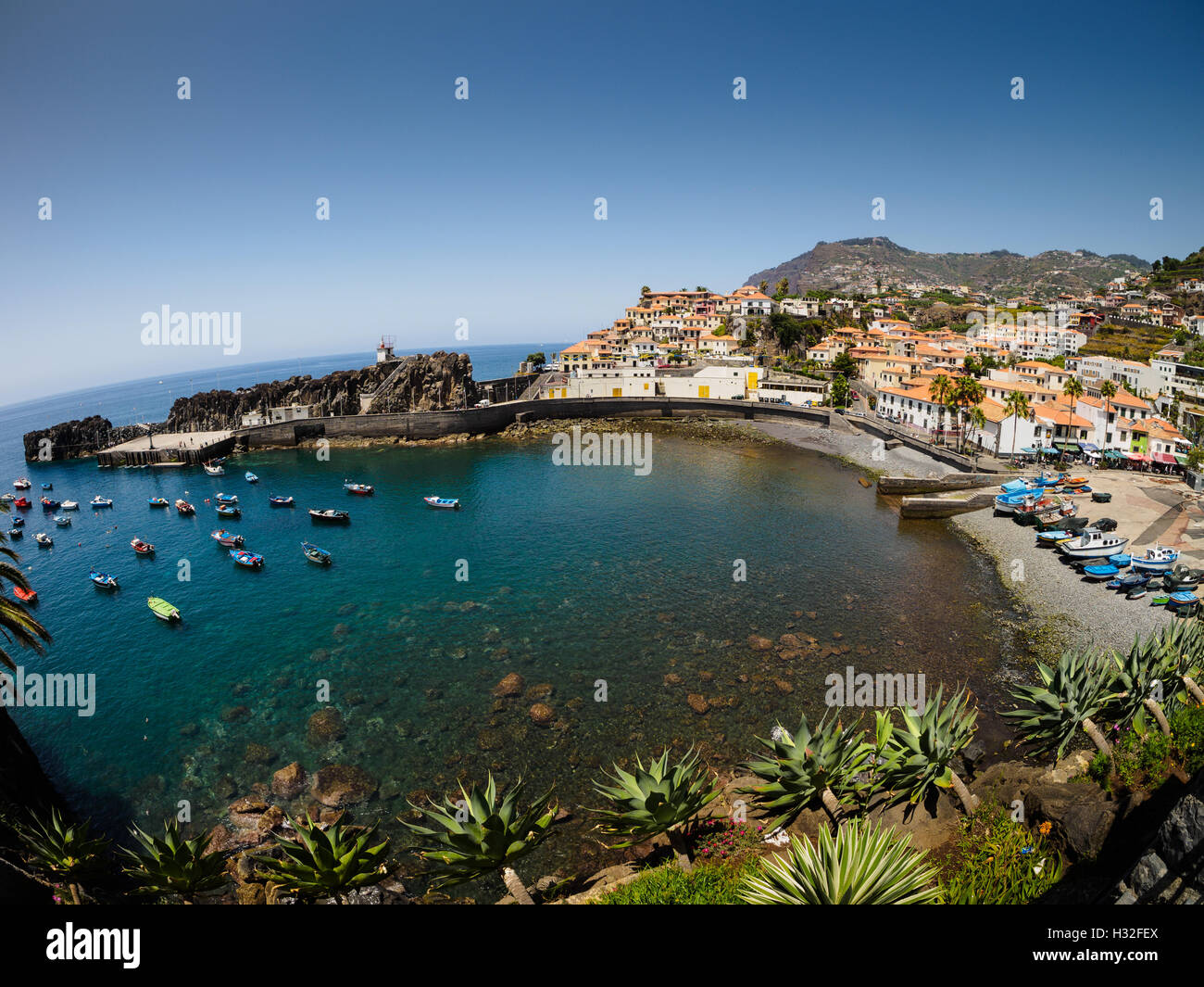A view over the bay of Camara de Lobos on the Portuguese island of Madeira - Stock Image