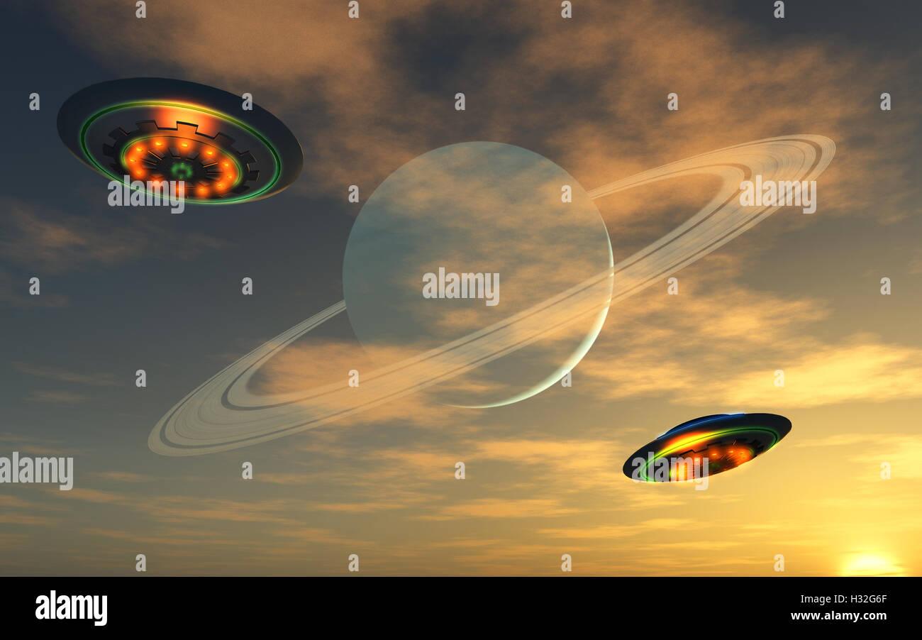 UFOs Home World. - Stock Image