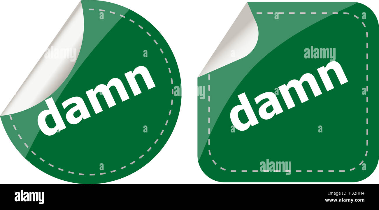 damn word on stickers web button set, label, icon - Stock Image