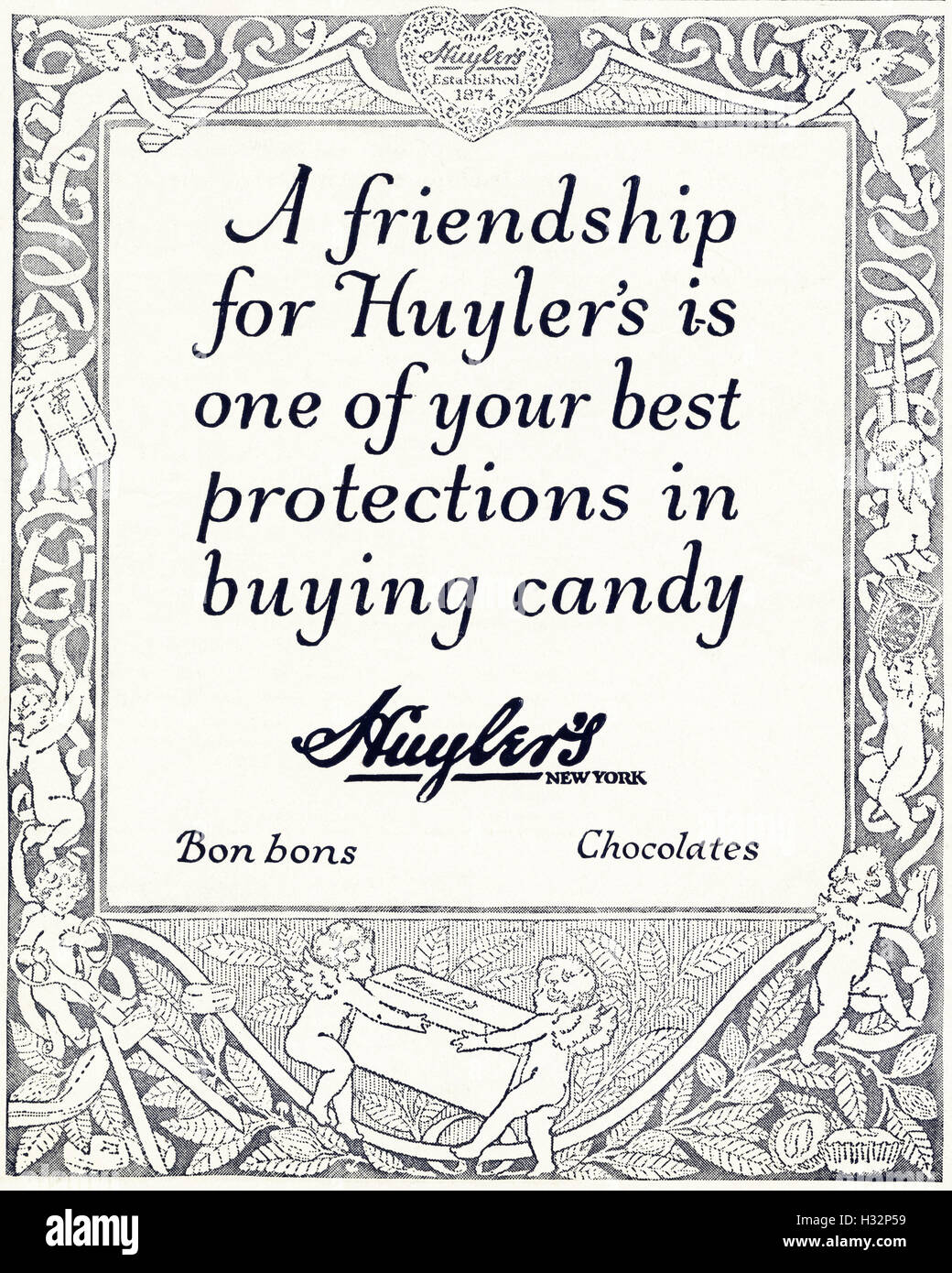 1920 advert from original old vintage American magazine 1920s advertisement advertising Huyler's candy bon bons Stock Photo