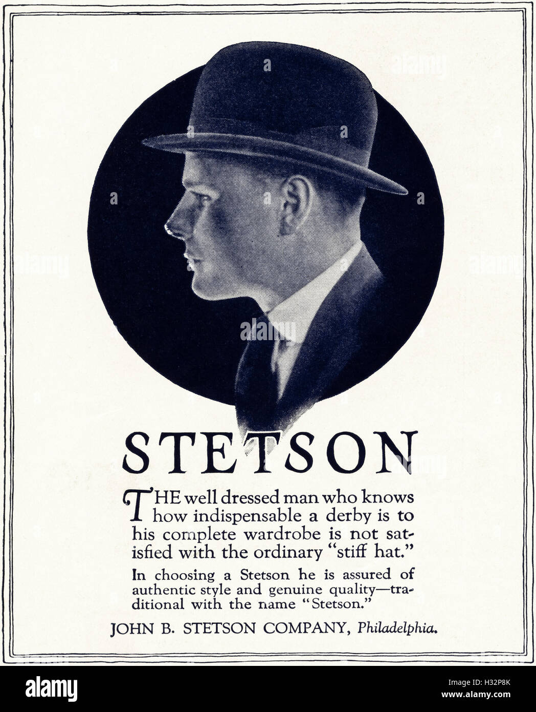 1920 advert from original old vintage American magazine 1920s advertisement  advertising the Derby men s hat by John B Stetson Company of Philadelphia  ... eb64f593a057