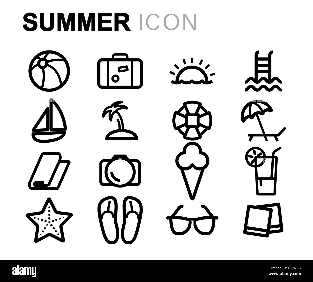 vector black line summer icons set on white background stock vector image art alamy https www alamy com stock photo vector black line summer icons set on white background 122378804 html