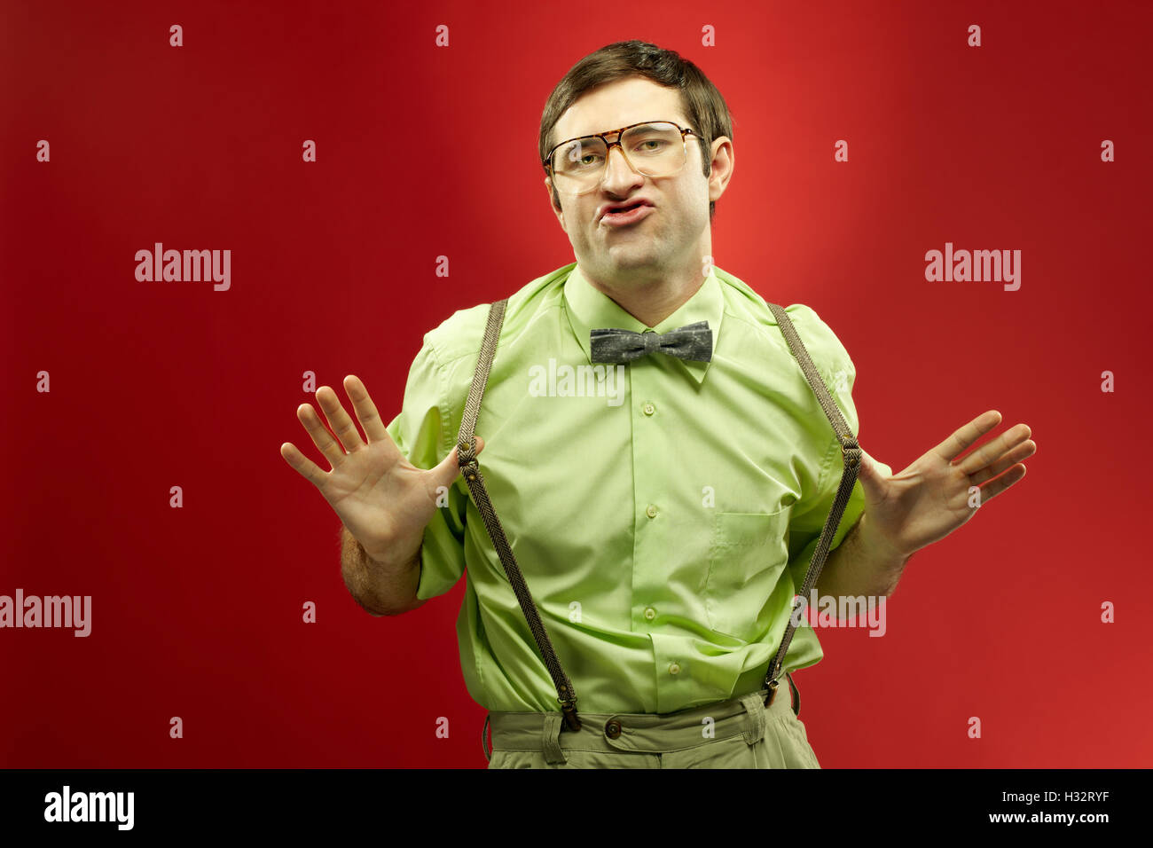Nerd showing off - Stock Image