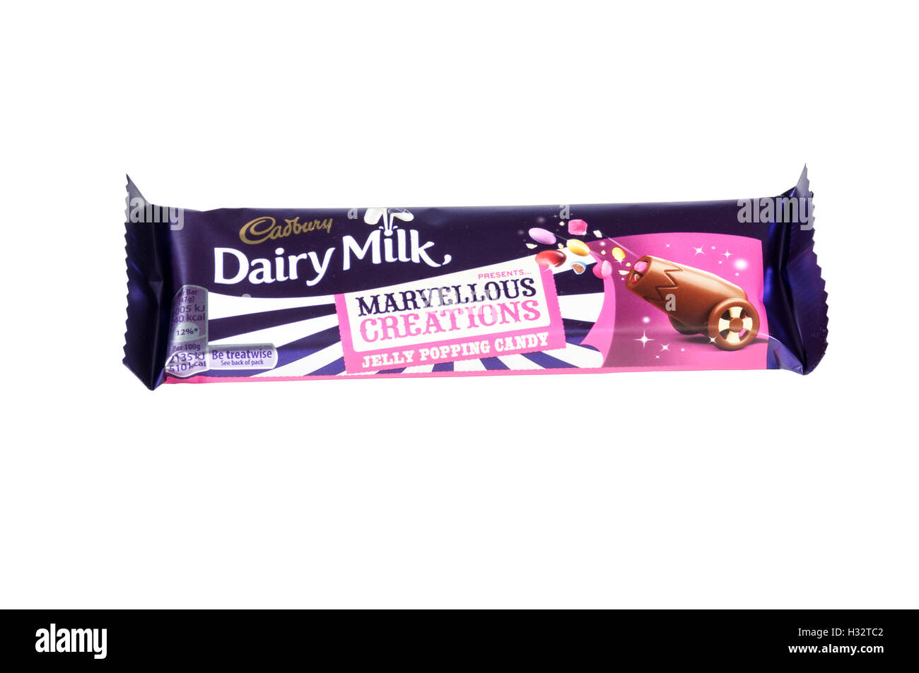 A Cadbury Dairy Milk Marvellous Creations Jelly Popping Candy chocolate bar. - Stock Image