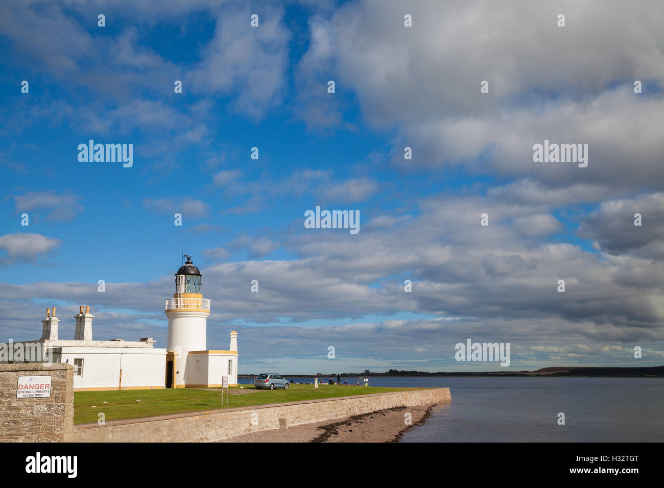 The Lighthouse at Chanonry Point on the Moray Firth, Scotland. Stock Photo