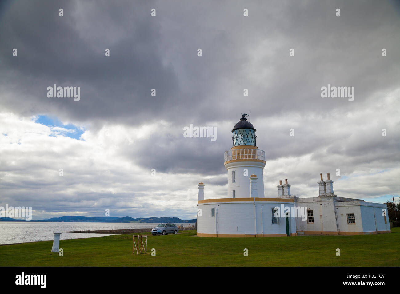 The Lighthouse at Chanonry Point on the Moray Firth, Scotland. - Stock Image