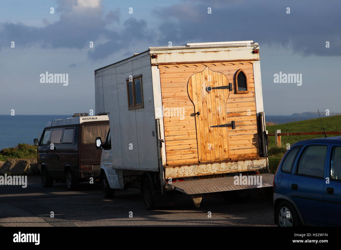 PENTIRE, NEWQUAY, CORNWALL, UK - OCTOBER 3, 2016: A gypsy caravan parked on Pentire in Newquay. - Stock Image