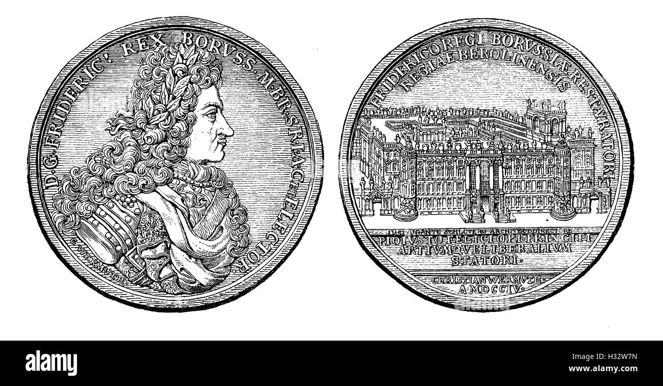 Medal from 1704 of  Frederick I king of Prussia - Stock Image