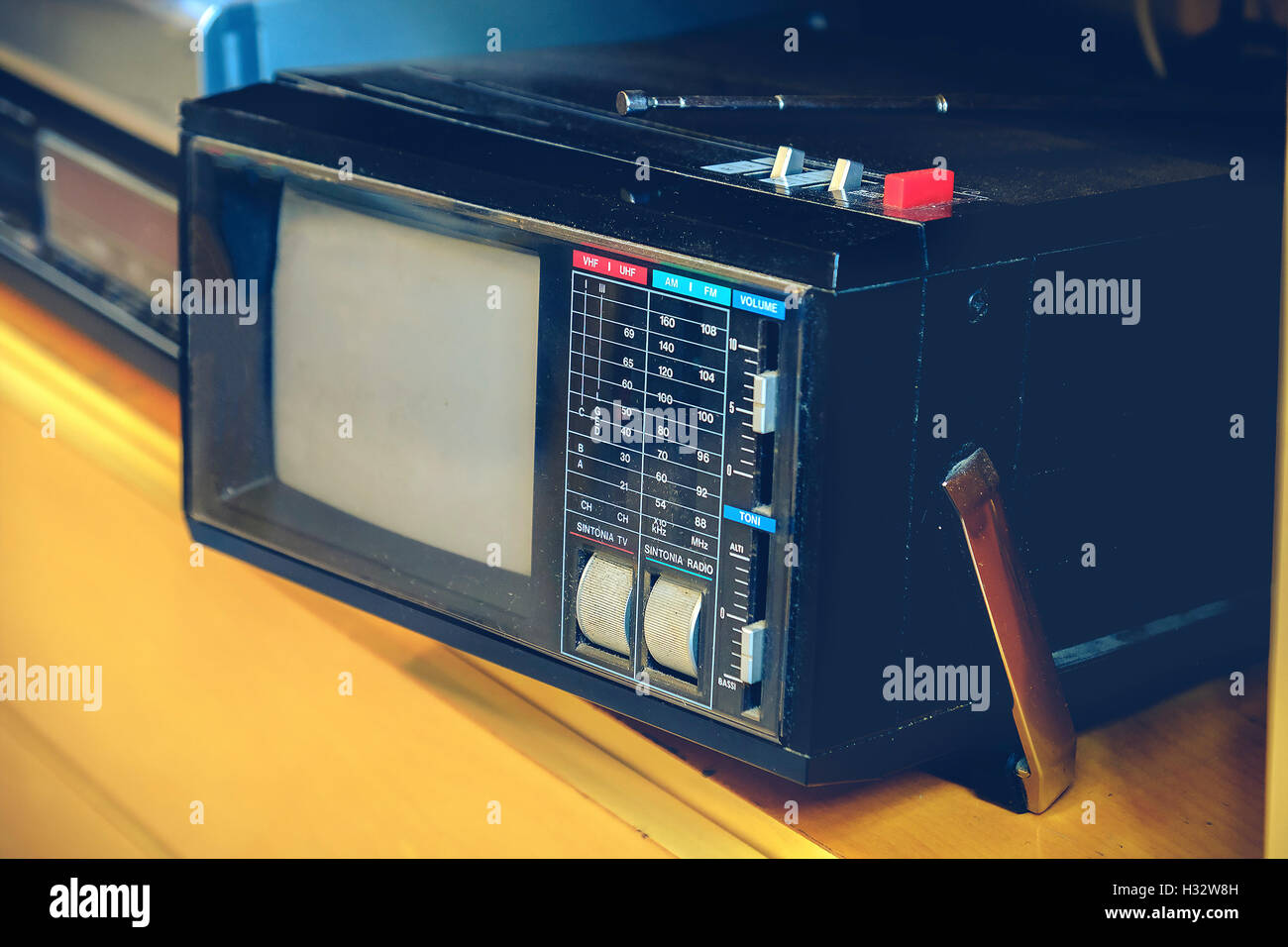 portable tv old retro vintage background - Stock Image