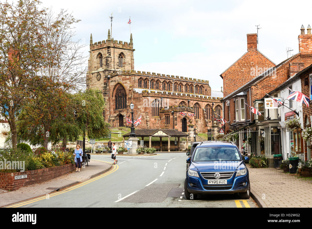 Parish Church of Saint James the Great in the centre of the village of Audlem Cheshire England UK - Stock Image