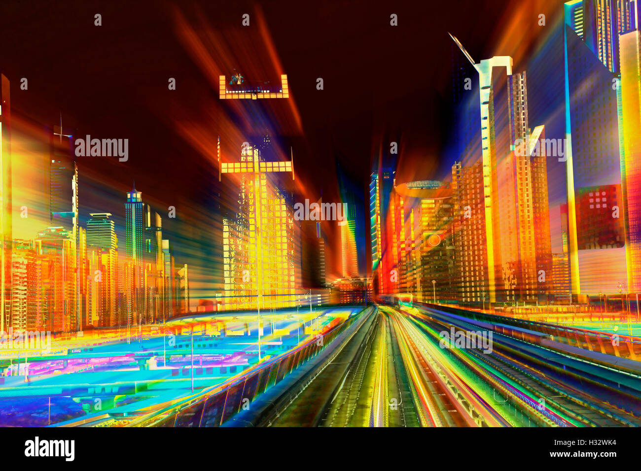 Abstract photo of Metro and illuminated buildings in the night - Stock Image