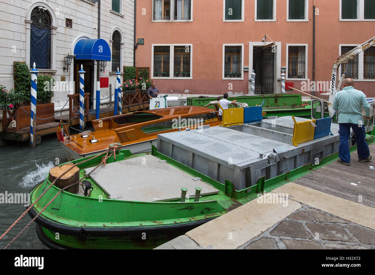 Bottleneck on the canals of Venice - Stock Image