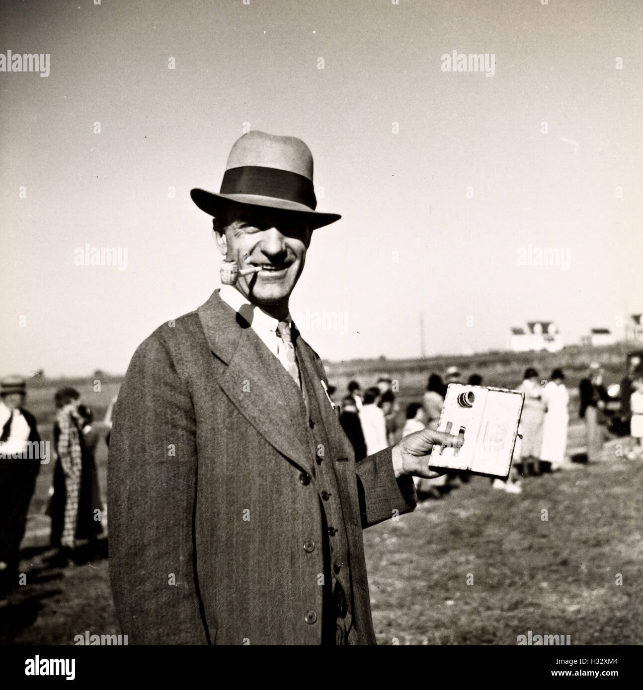 Winner of a pipe smoking contest at the Westmoreland Homestead first fair, USA - Stock Image