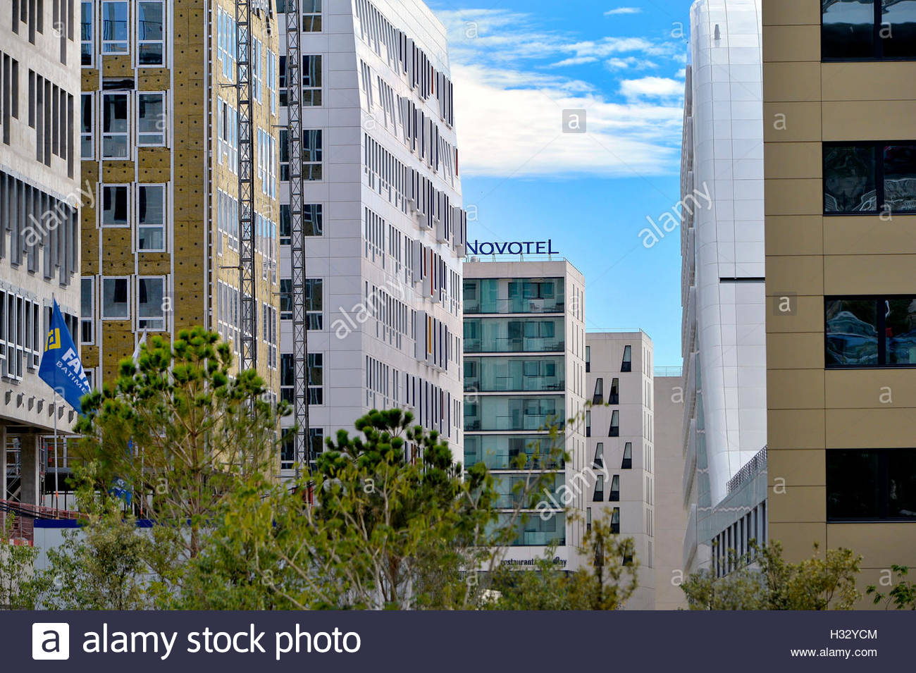 Marseille, Arenc area in the 2d district,  concentrates office buildings, housings, hotels, theaters Stock Photo