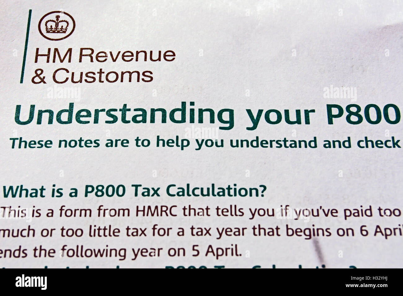 understanding your p800, a form issued by hm revenue and customs to  uk tax payers - Stock Image