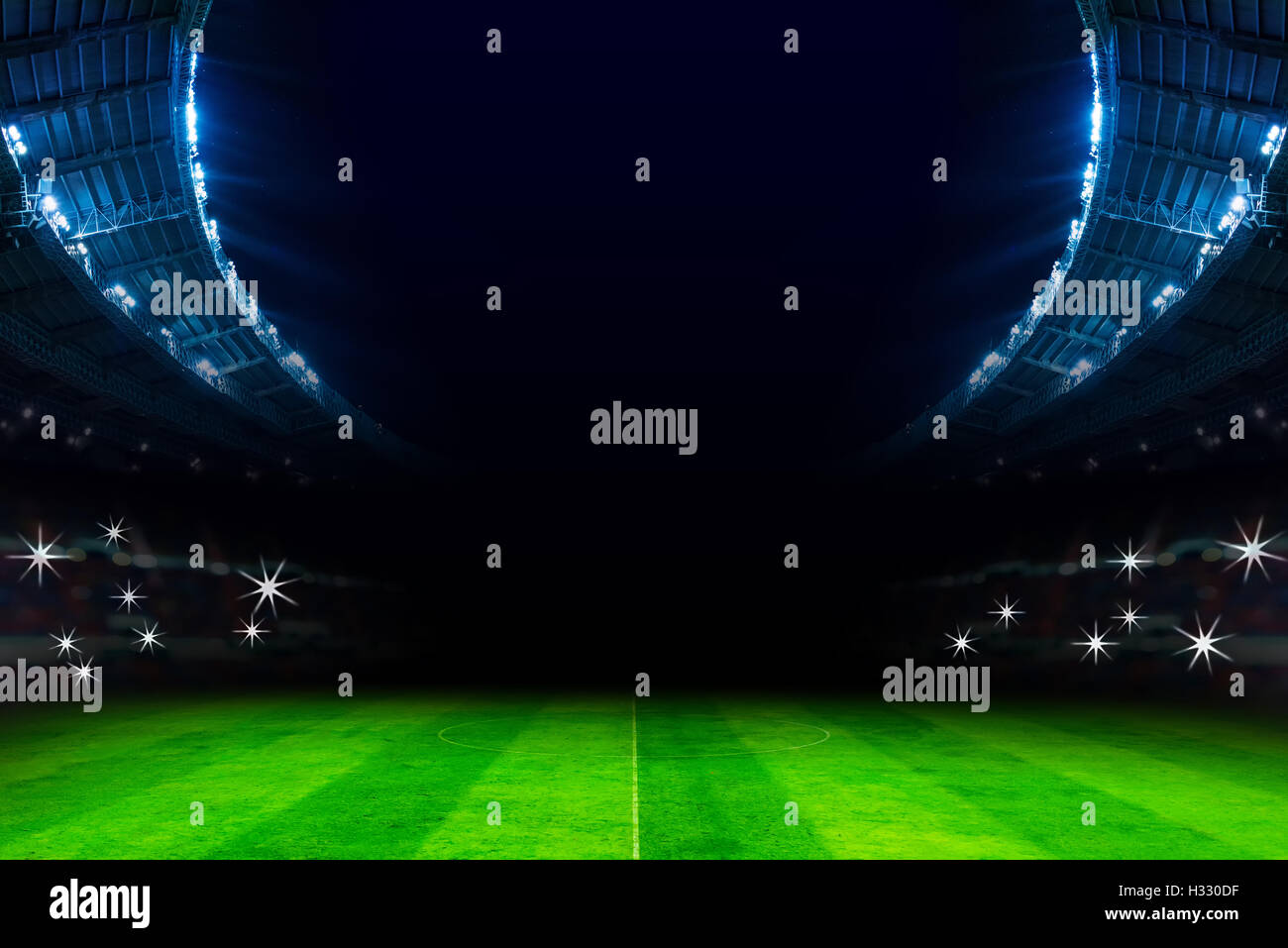 lights in soccer stadium at night match - Stock Image