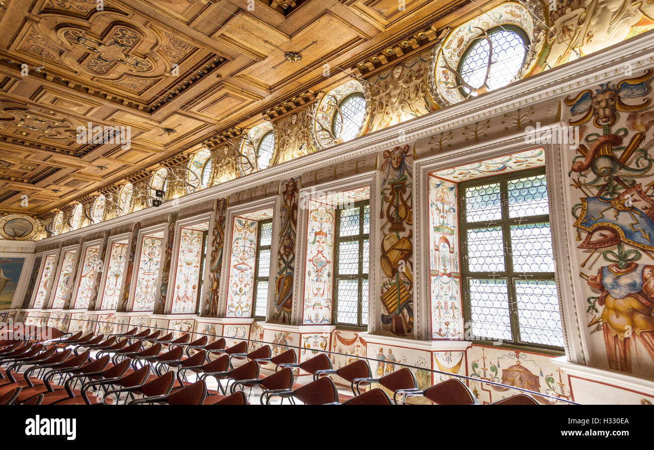 The Spanish Hall of famous Ambras Castle  featuring 27 portraits of rulers of Tirol, reserved for famous classical - Stock Image