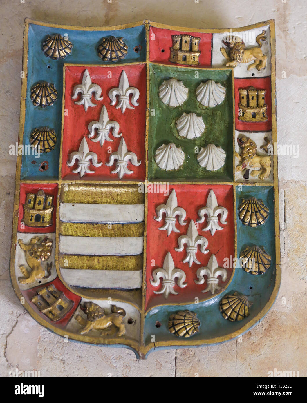 Heraldic Coat of Arms in the Cathedral of Salamanca, Spain - Stock Image