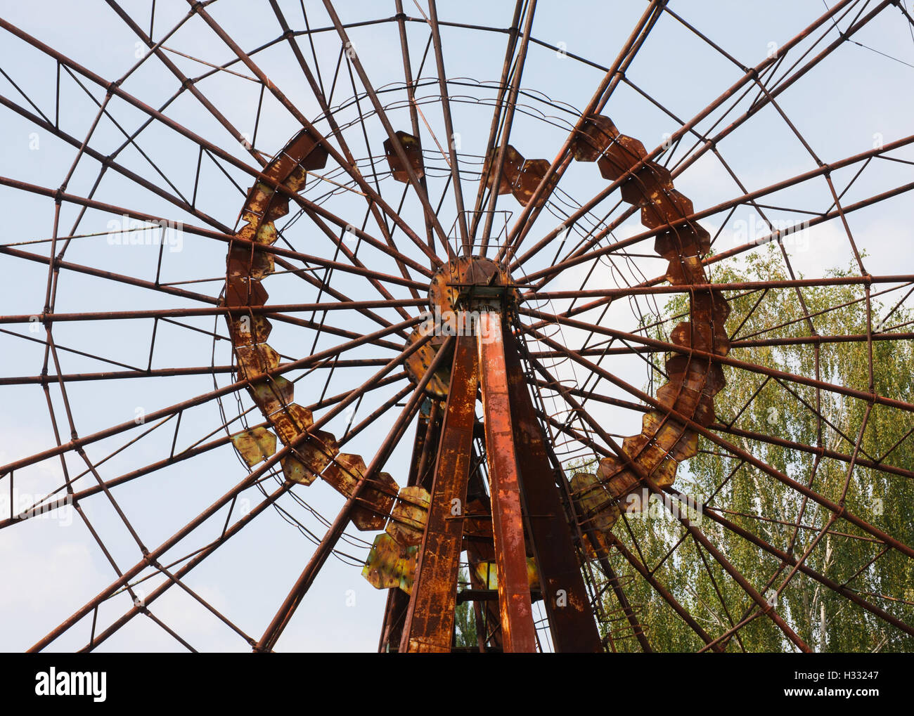 The ferris wheel of the Prypiat amusement park. The wheel has become a symbol of the 1986 Chernobyl nuclear disaster. - Stock Image