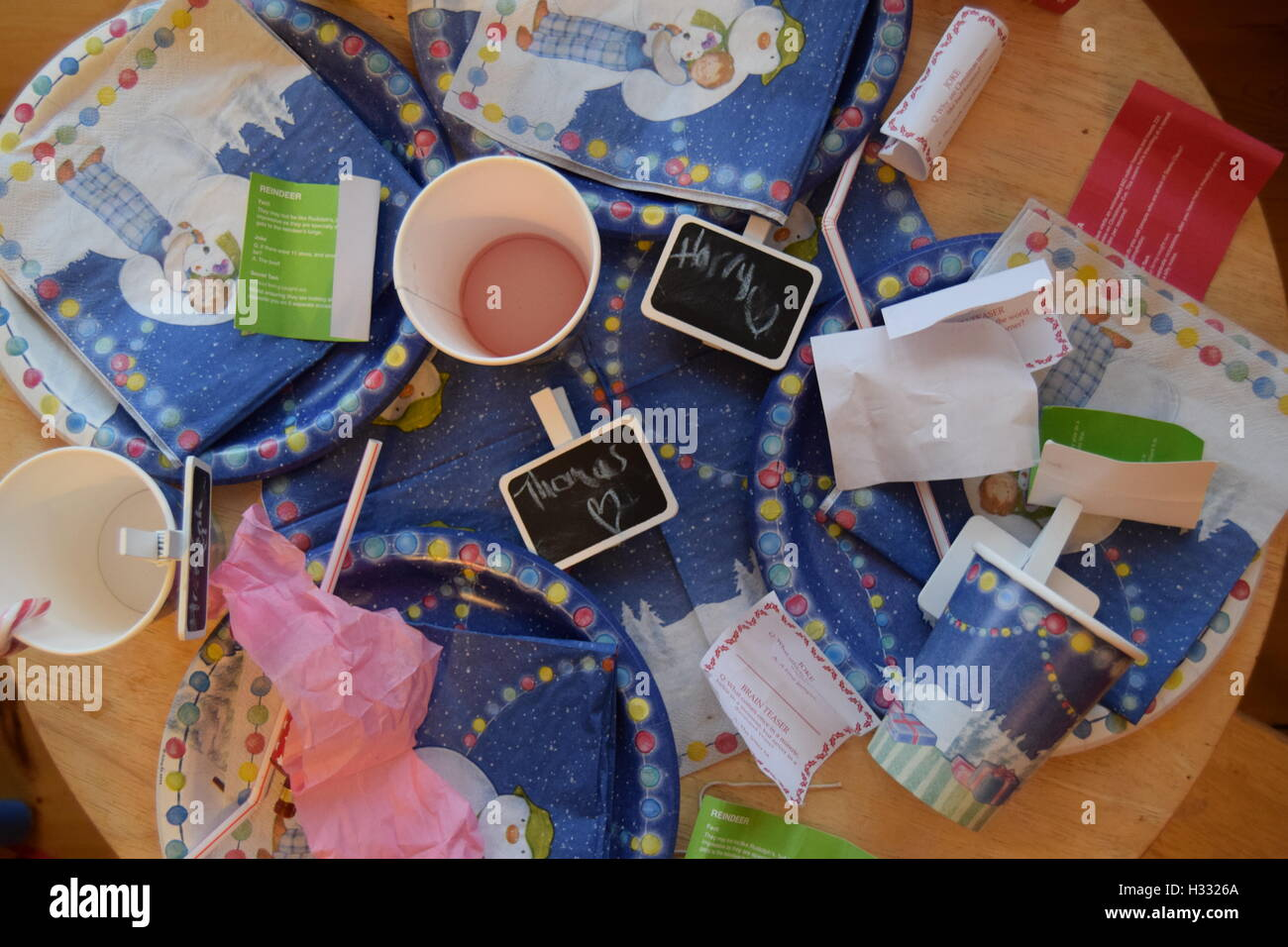 Children's party mess - Stock Image