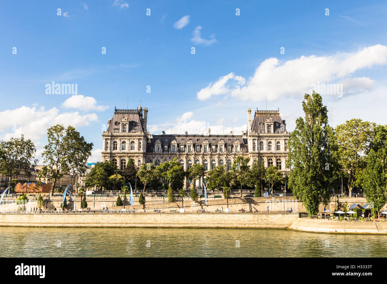 The facade of Paris city hall (hotel de ville) along the Seine river in Paris, France capital city. - Stock Image
