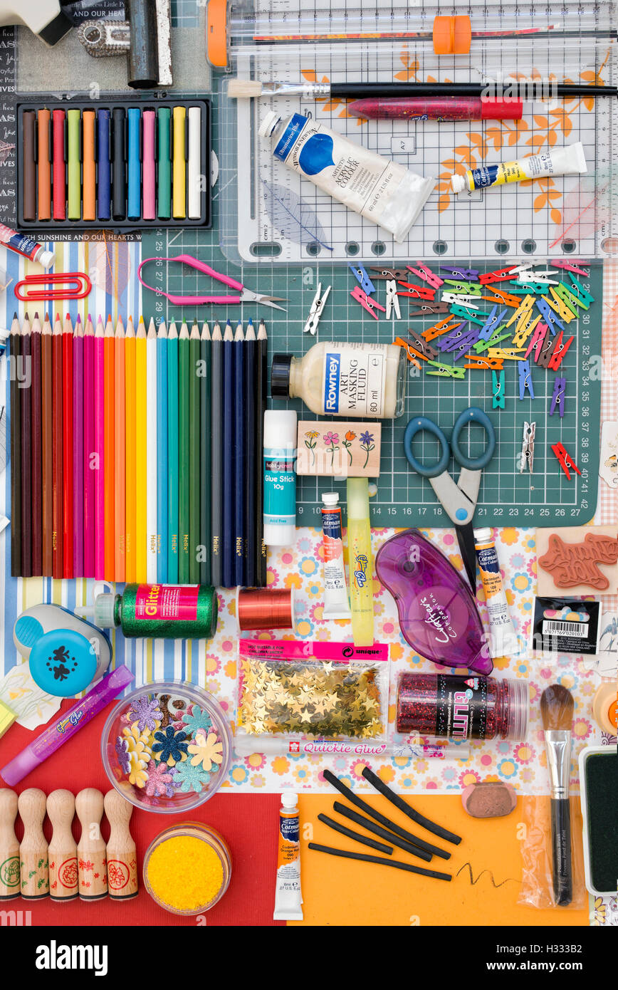 Art and Crafting Materials Pattern Stock Photo