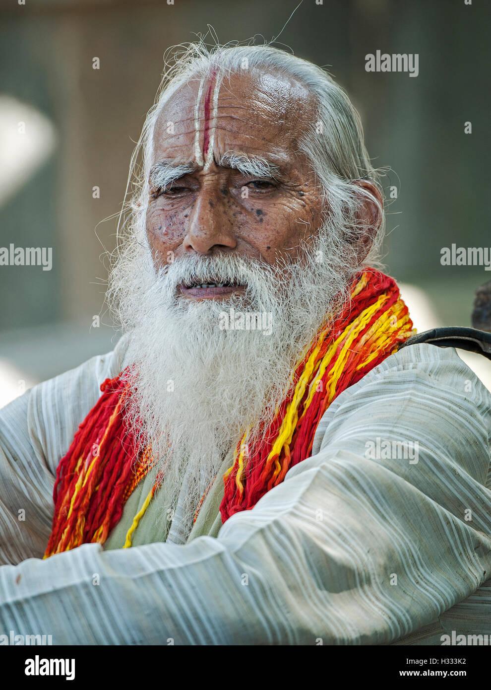 The image of Sadhu a Brahmin at banganga, walkeshwar, mumbai, maharashtra, India Stock Photo