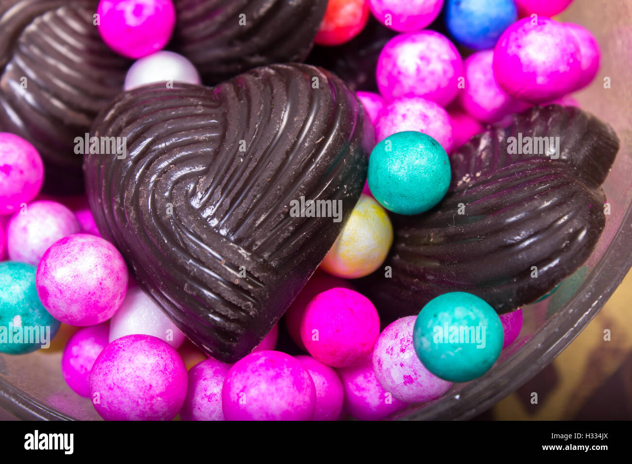 Home Made Chocolates With Decorated Small Balls   Stock Image