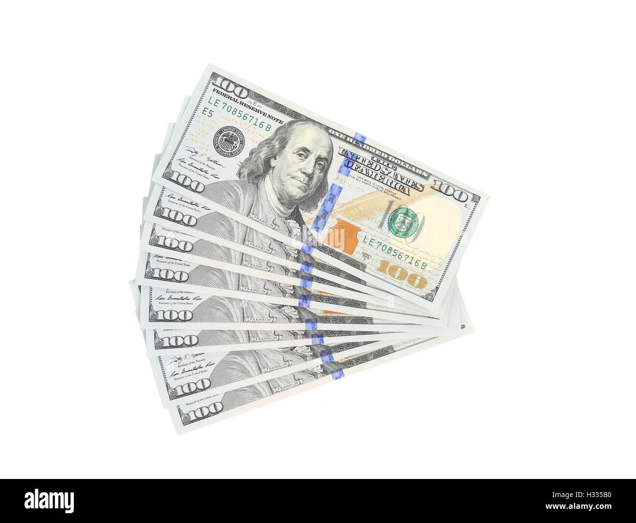Fan of 100 dollars greenbacks. - Stock Image