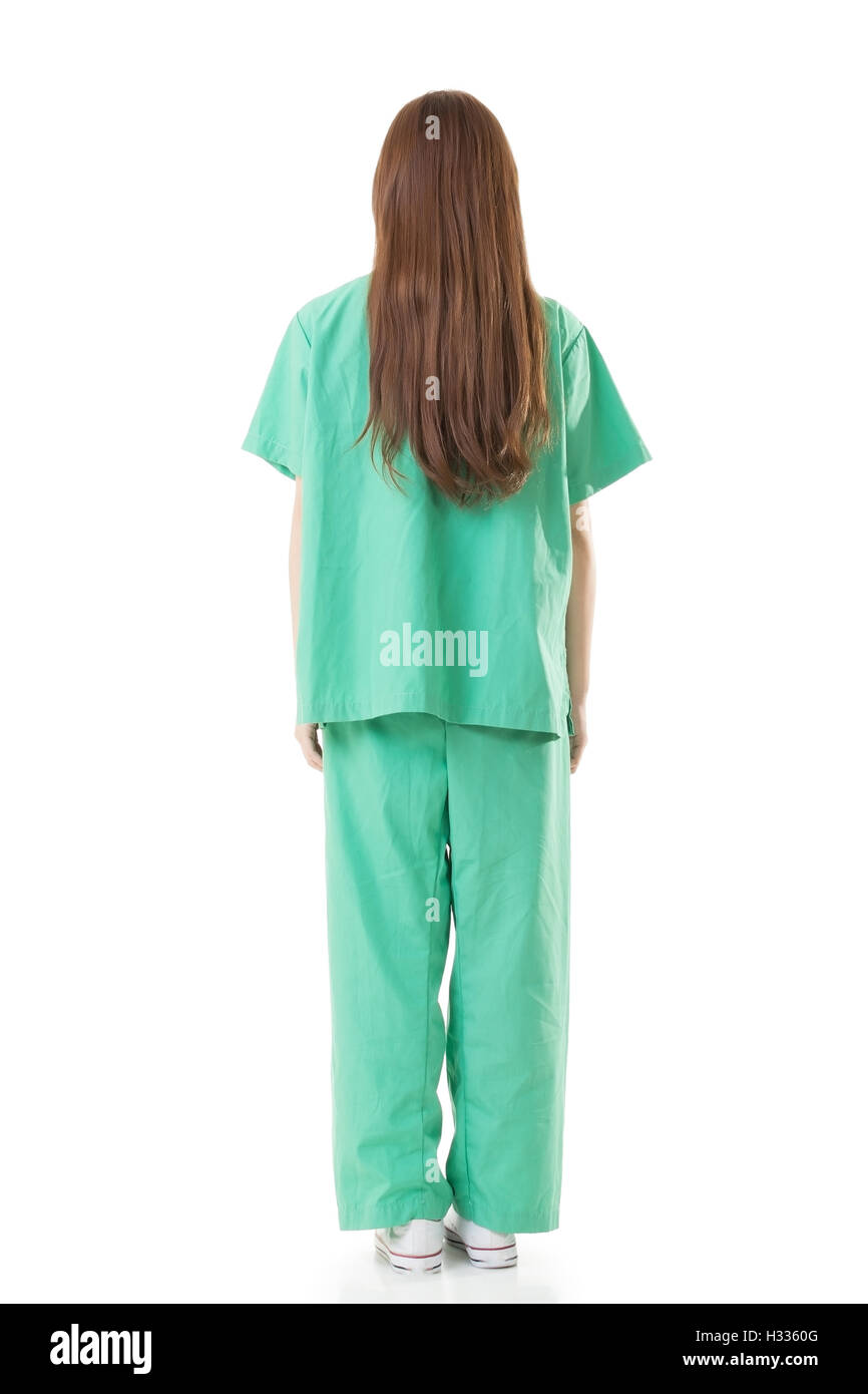 Rear view of Asian doctor woman wear a isolation gown or operati - Stock Image