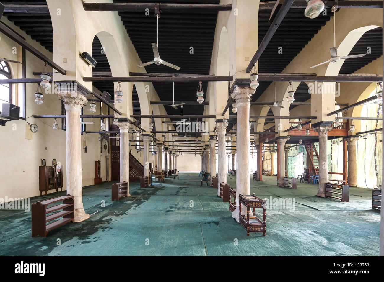 prayer hall,  mosque at Mahallat al-Kubra, Egypt - Stock Image