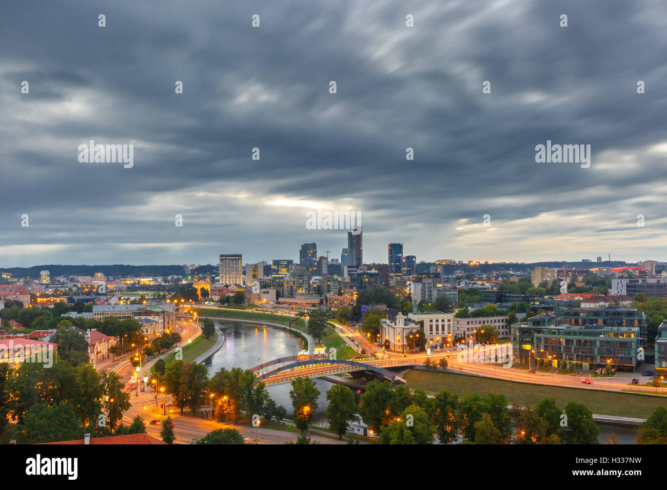 Panorama New Center of Vilnius, Lithuania - Stock Image