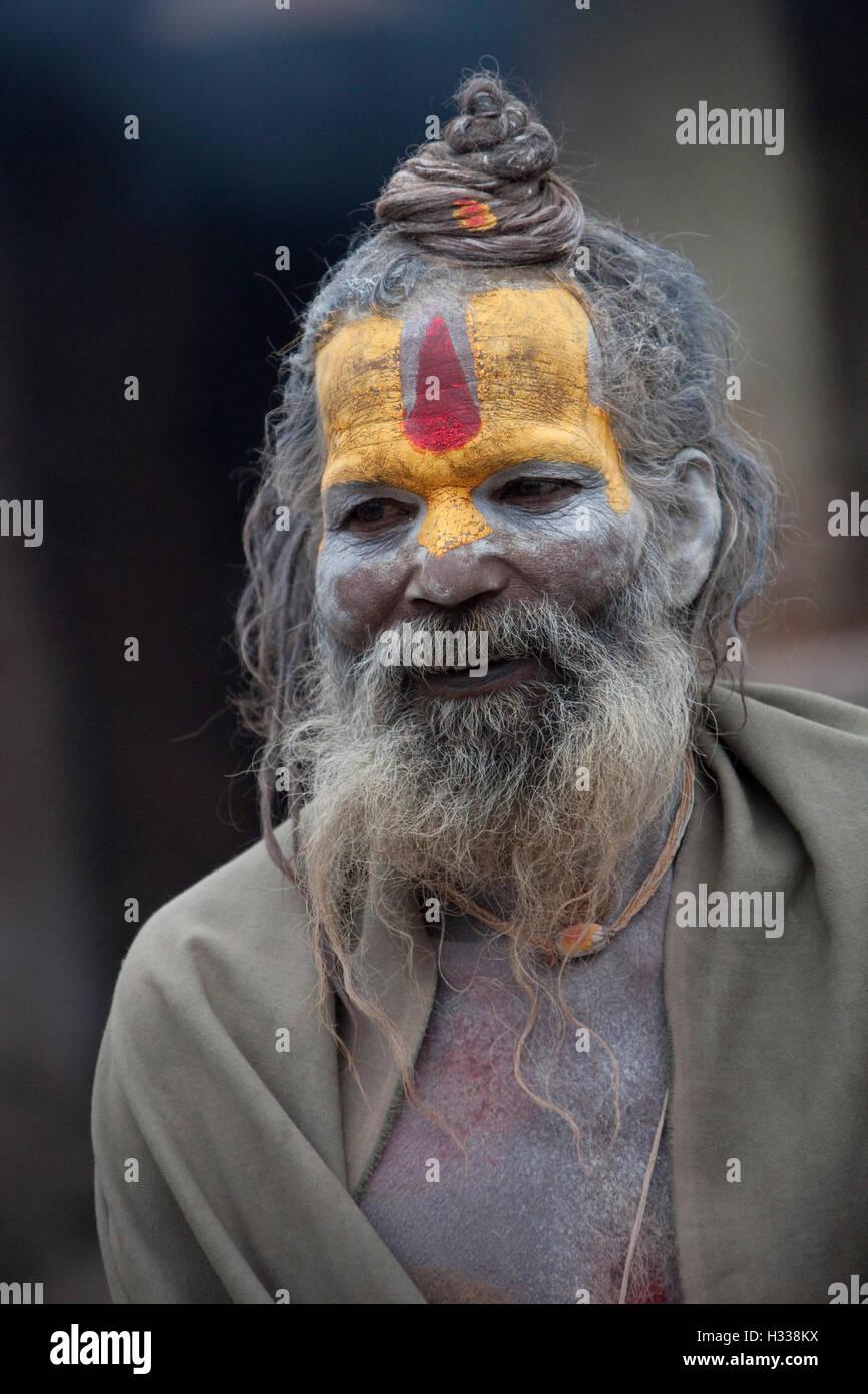 Portrait of Hindu sadhu, holy man, at Pashupatinath, Kathmandu Valley, Nepal, Asia Stock Photo