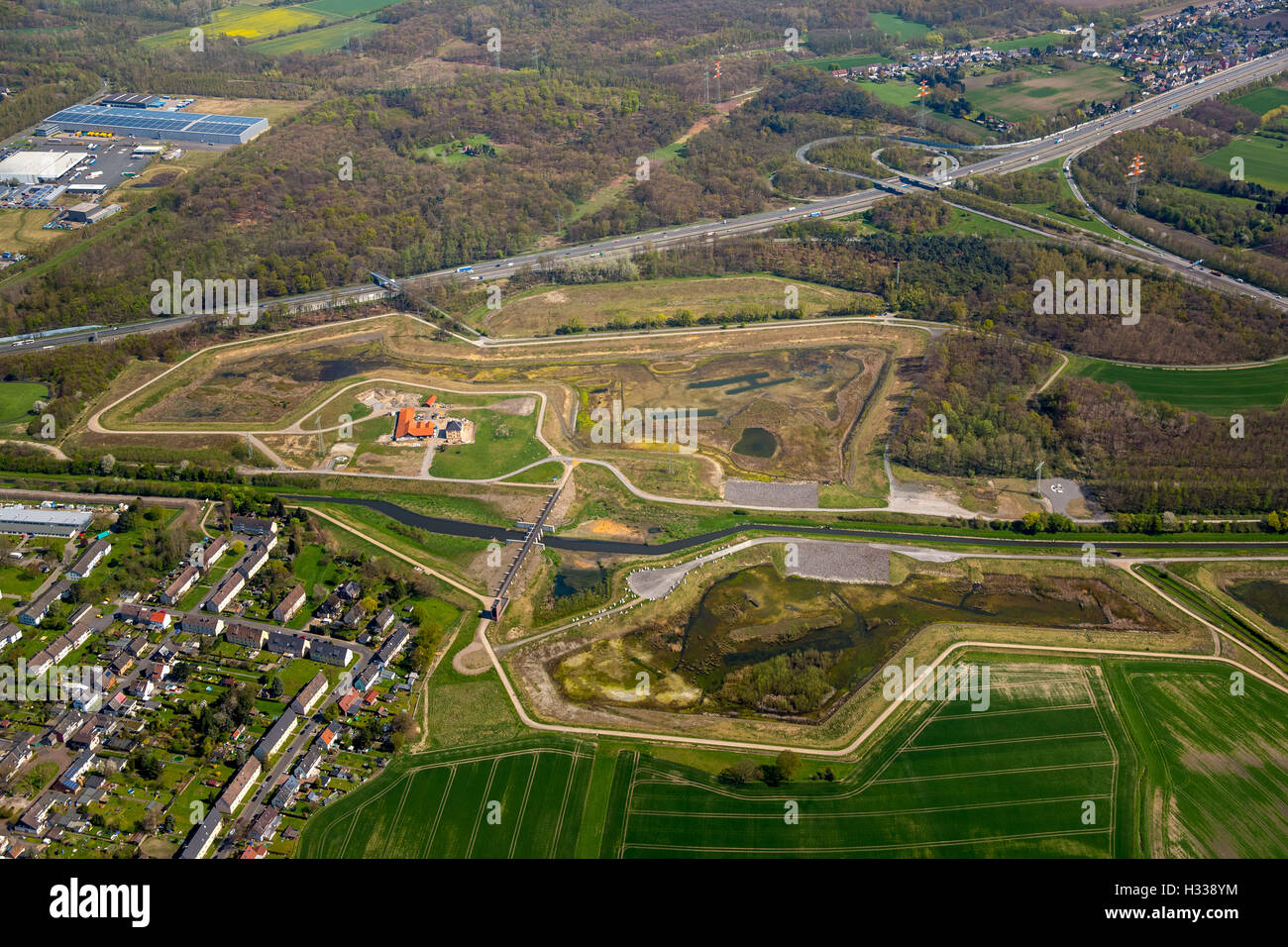 Rainwater retention basin, river Emscher in the Mengede district, water management, Castrop-Rauxel, Ruhr district - Stock Image