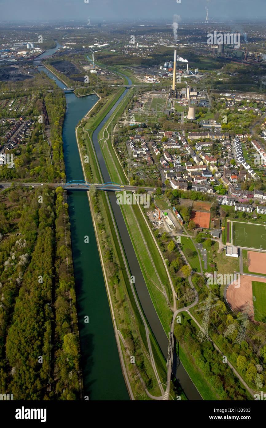 Emscher and Rhine-Herne Canal, Emscher Island, Essen, Ruhr district, North Rhine-Westphalia, Germany Stock Photo