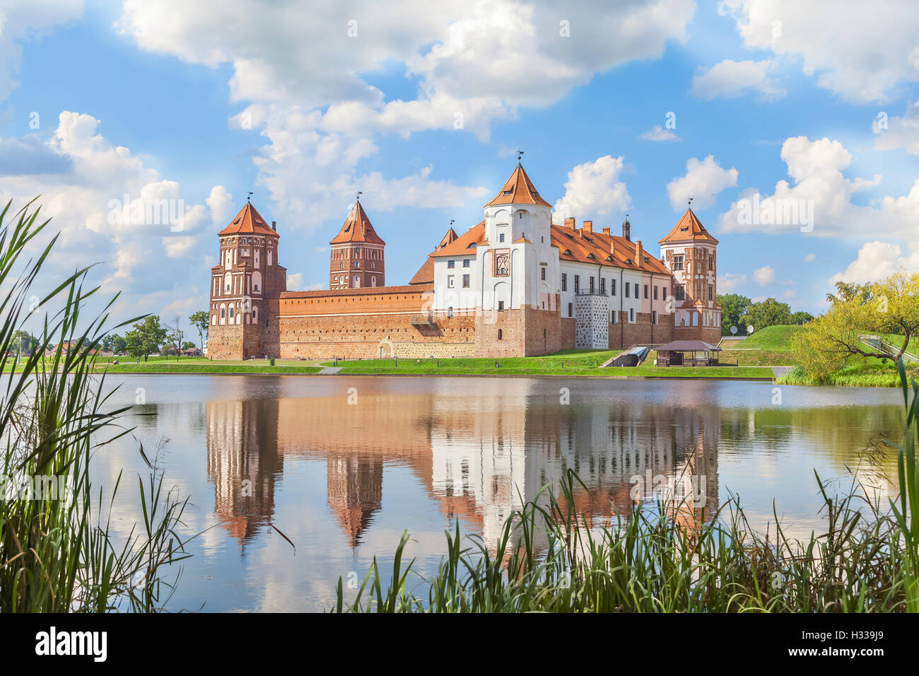 Mir castle in sunny summer day, Belarus - Stock Image