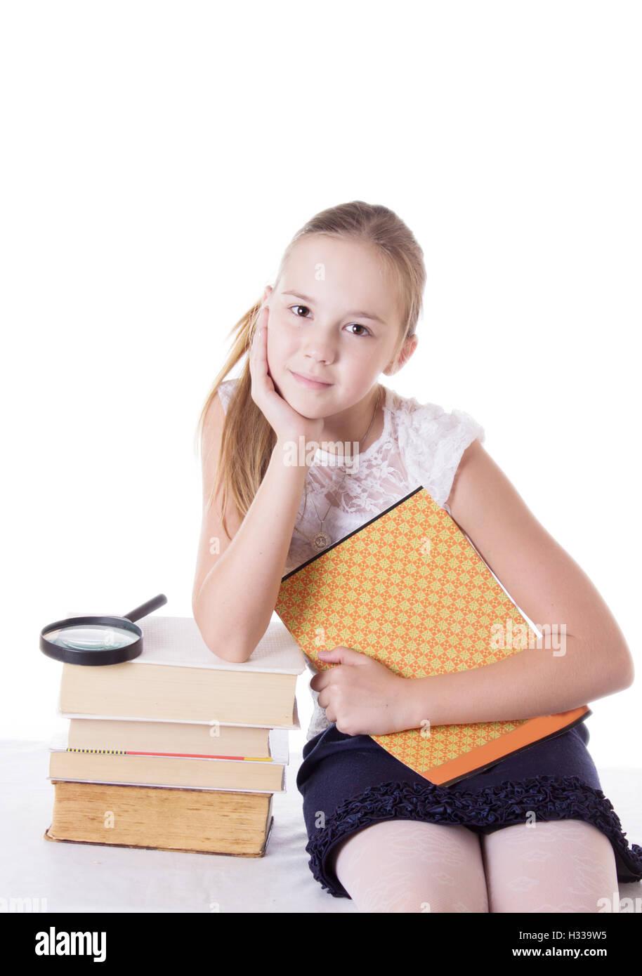 bdfb9b91b36 Beautiful Girl Holding Open Book Stock Photos & Beautiful Girl ...