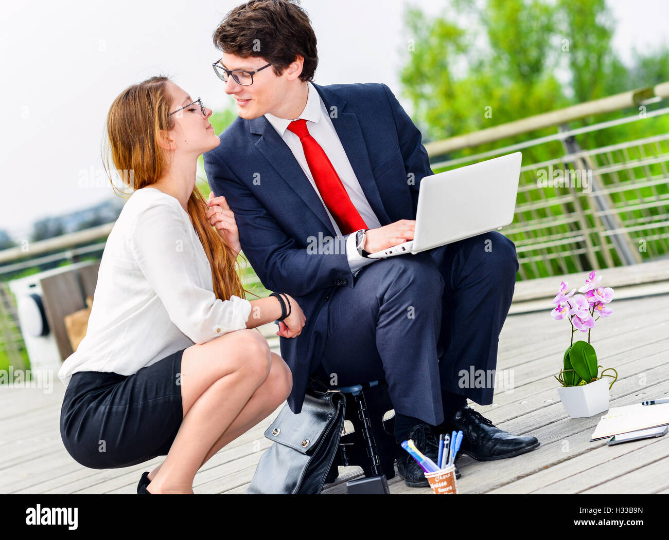 seduction on the workplace - Stock Image