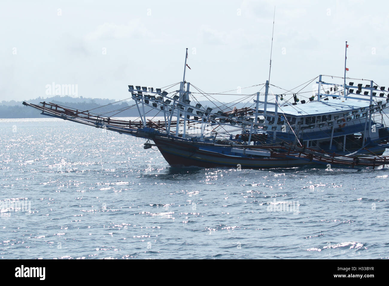 Large Fishing Boat at the Mentawai Islands - Stock Image