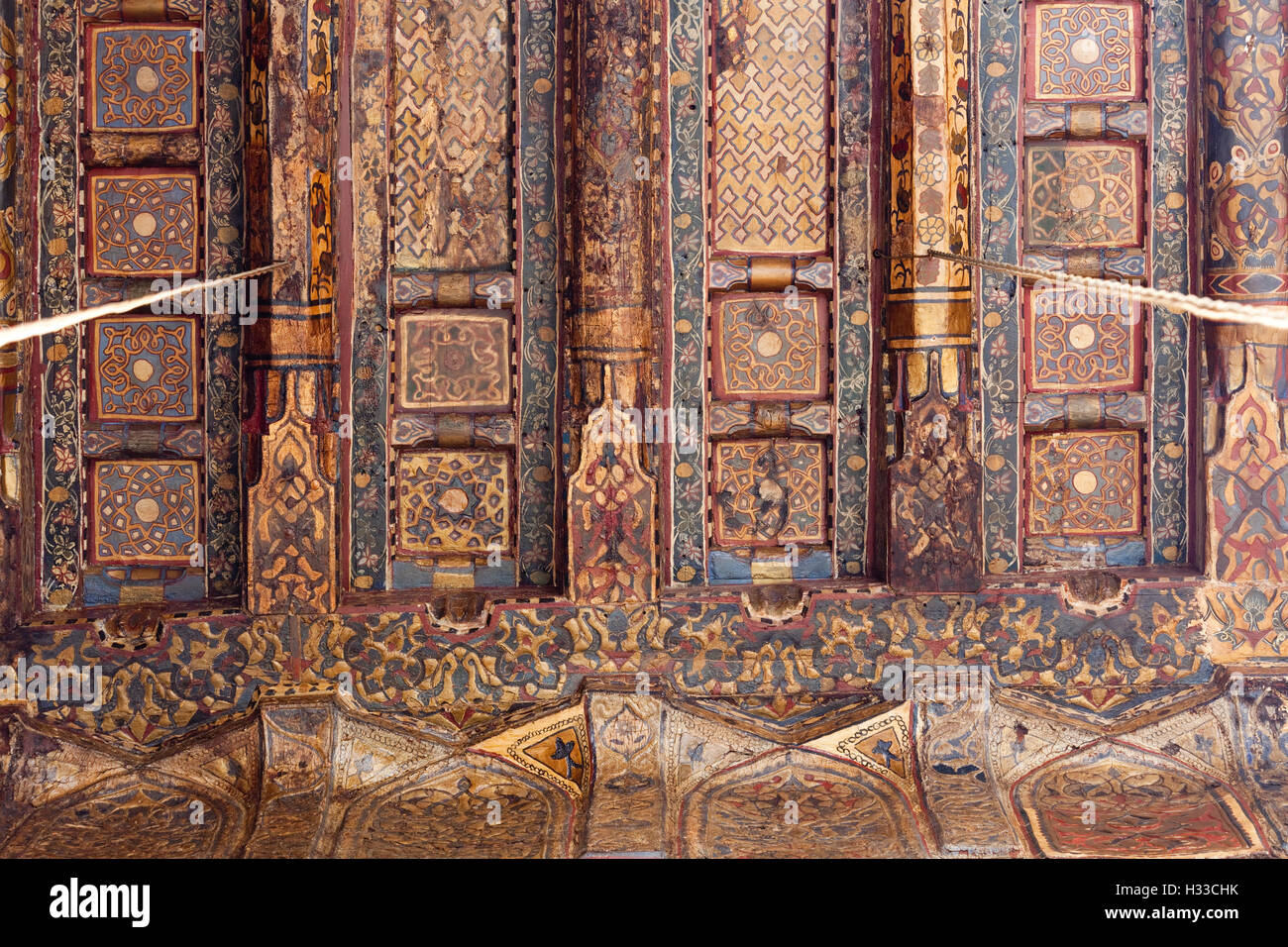 detail of painted ceiling, Madrasa of Yusuf ibn Ahmad Jamal al-Din al-Ustadar, Cairo, Egypt - Stock Image