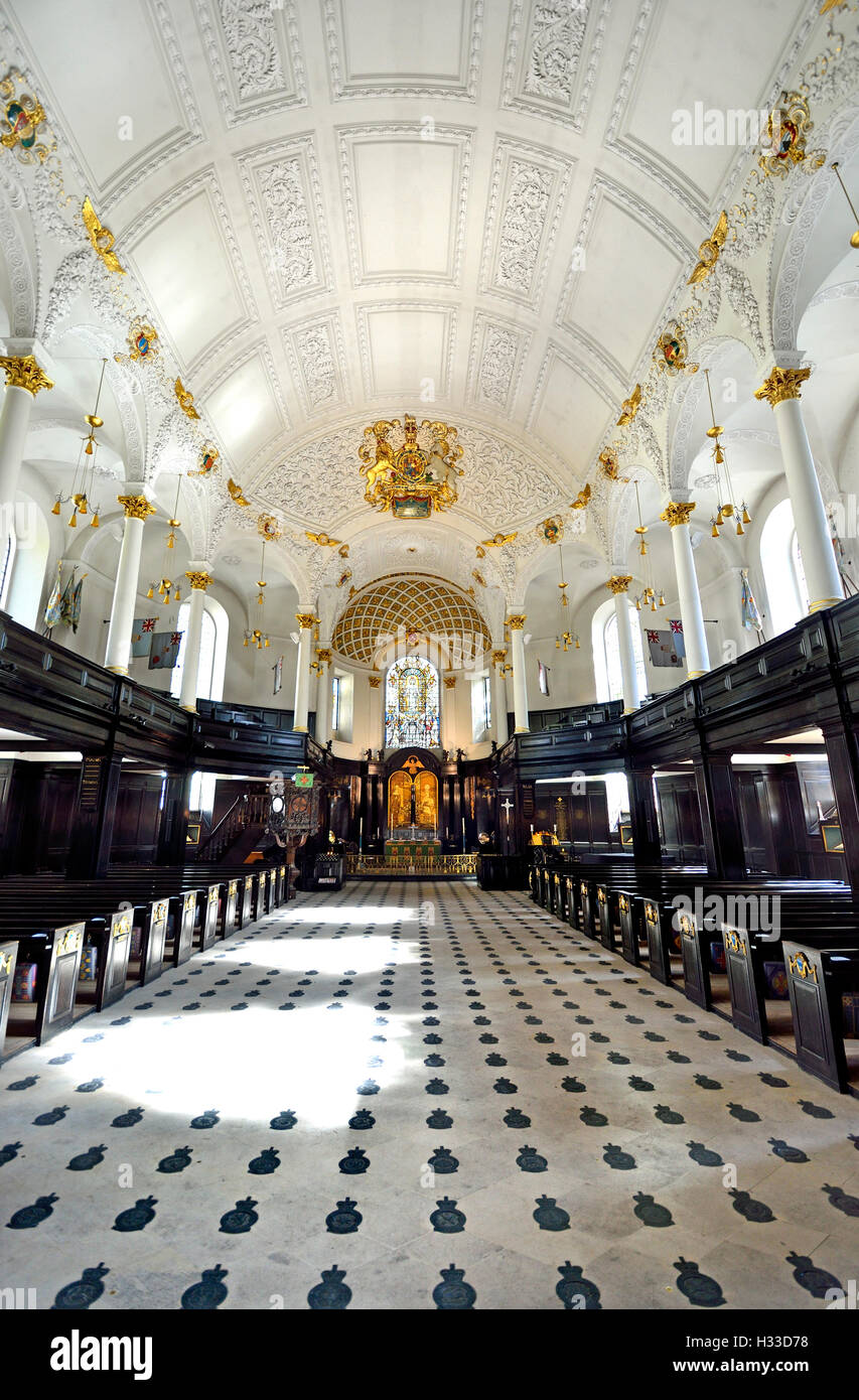 London, England, UK. Church of St Clement Danes on the Strand. Interior: more than 800 slate badges in the floor - Stock Image