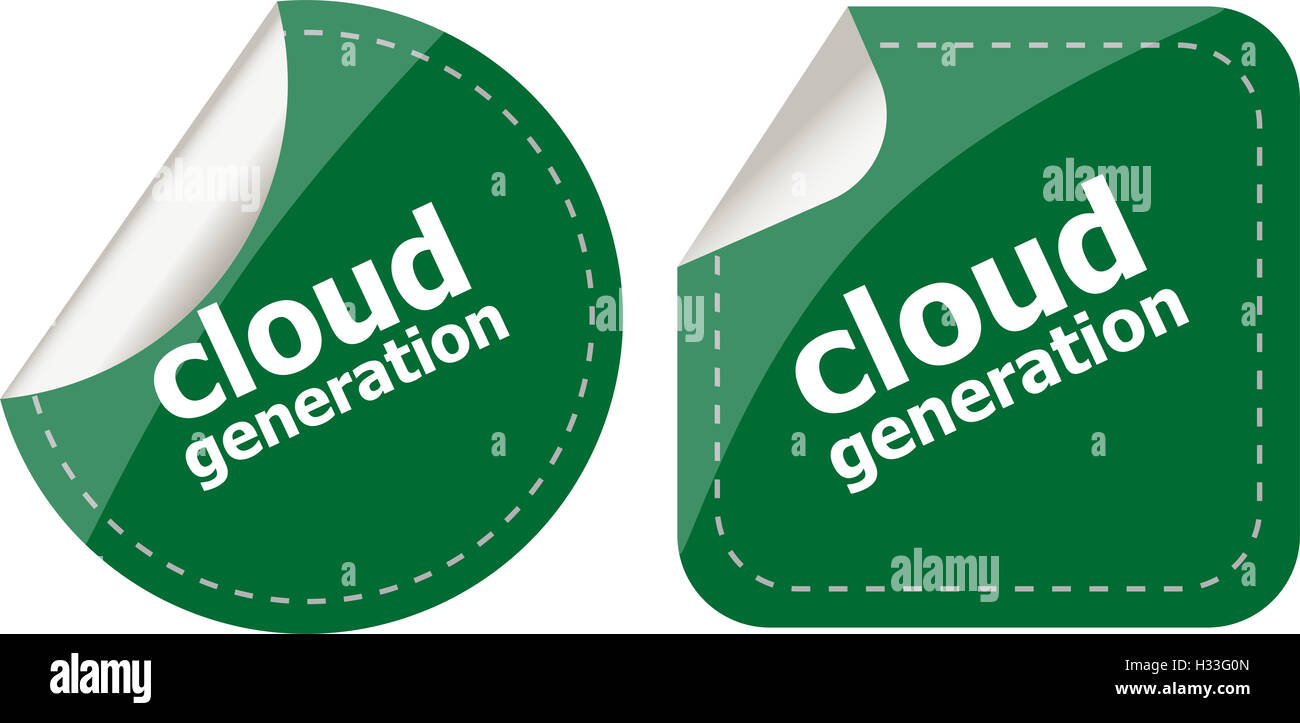 Cloud technology icon, label stickers set isolated - Stock Image