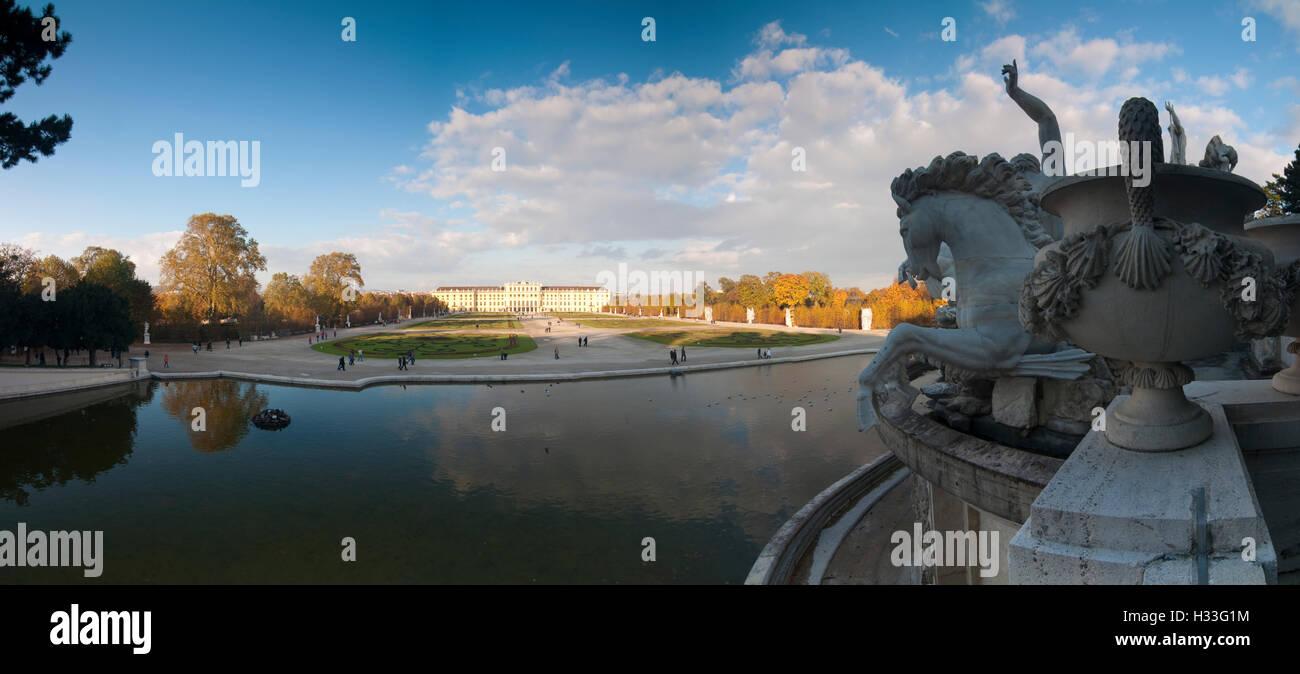 Wien, Vienna: View from Neptune Fountain  to Schönbrunn Palace, 13., Wien, Austria - Stock Image