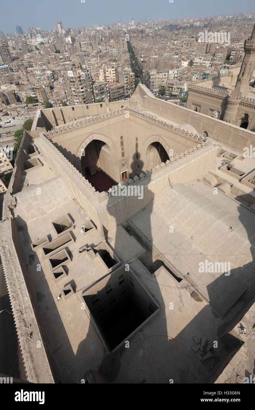 Sultan Hasan complex, view from minaret of courtyards and  iwans, Cairo - Stock Image