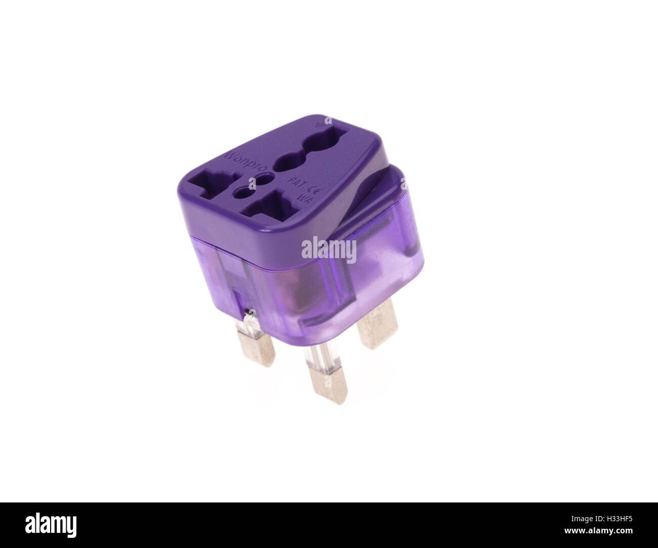Travel adapter European US to three pin UK - Stock Image